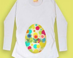preggy eggy decorated top