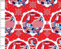 birds red fabric