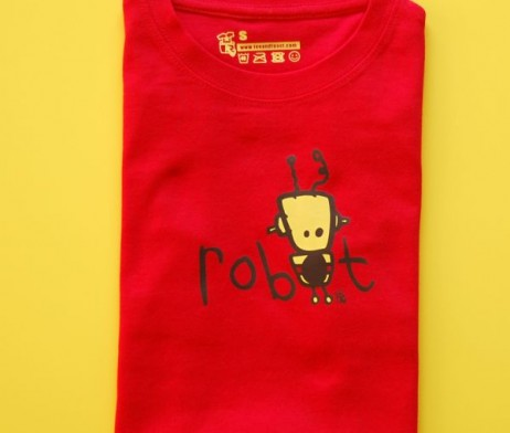 red robot t shirt