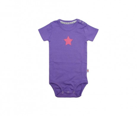 molo purple babygro featuring a pink star