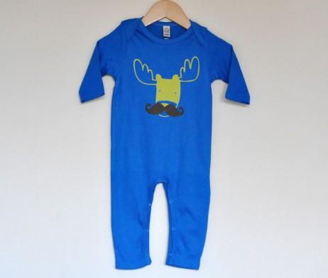 moosestache blue babygro romper